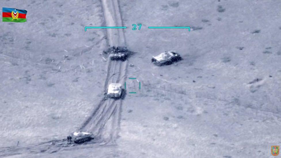 Imagen aérea difundida por el Ministerio de Defensa de Azerbaiyán