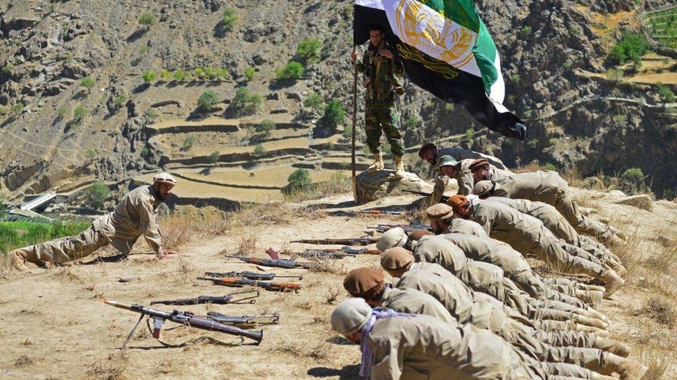 Combatientes antitalibán en Panjshir, 2 de septiembre.