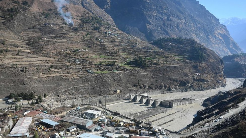 A hydropower dam that was hit by the flash-flood in Chamoli district of Uttarakhand state in India on 7 February