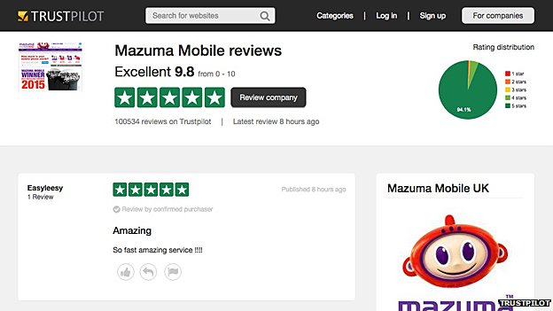 Mazuma Mobile page on Trustpilot
