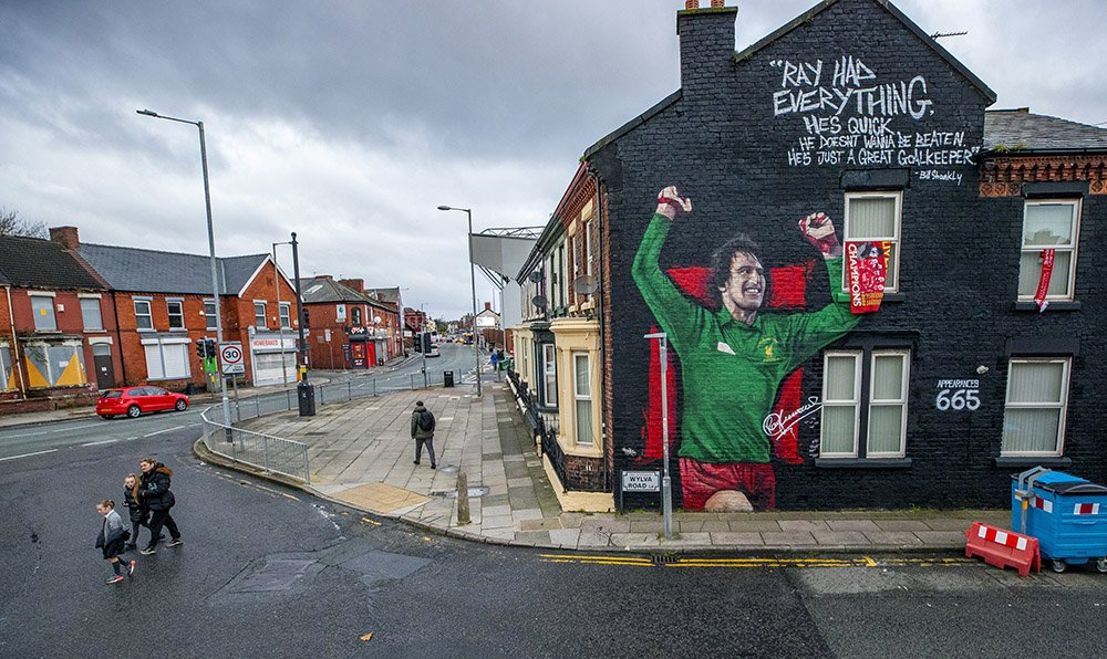 A mural of the Liverpool and England goalkeeper Ray Clemence