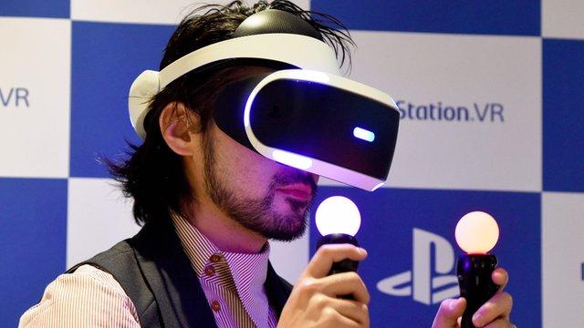 Gamer using Sony's PSVR virtual reality headset