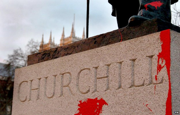 Red paint thrown over Churchill's statue