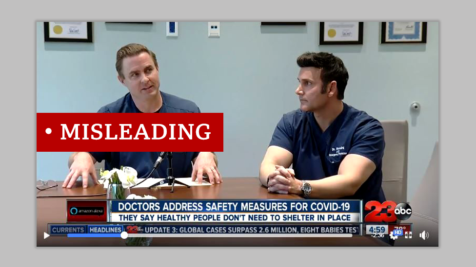 "Two California doctors interview on TV. Screenshot labelled ""misleading"""