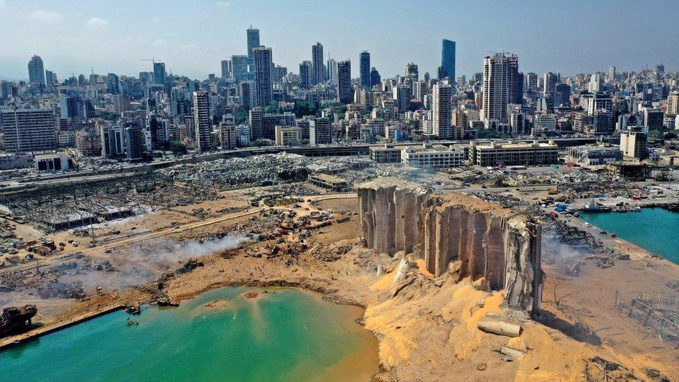 Panoramica de la ciudad de Beirut con lo que era la zona portuaria