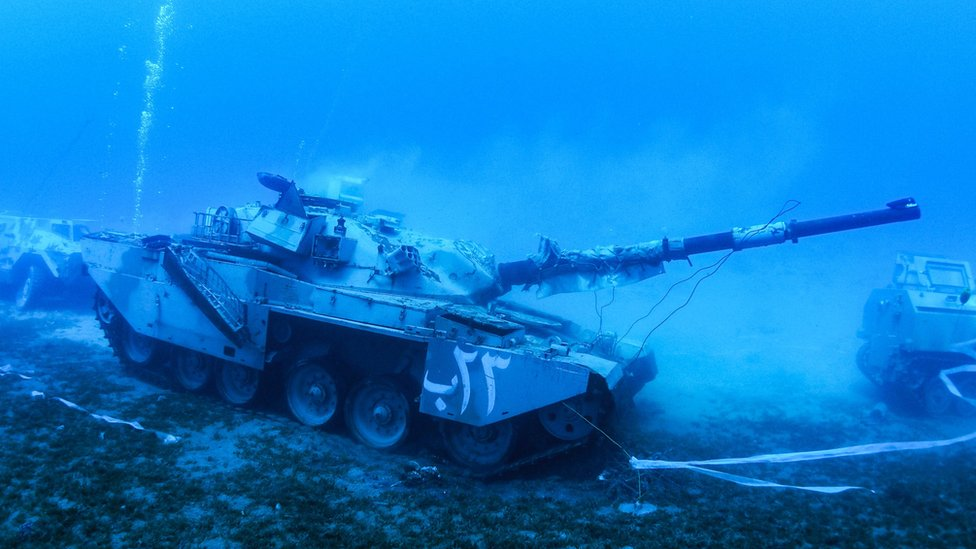 A tank lies on the seabed of the Red Sea off the coast of the southern port city of Aqaba