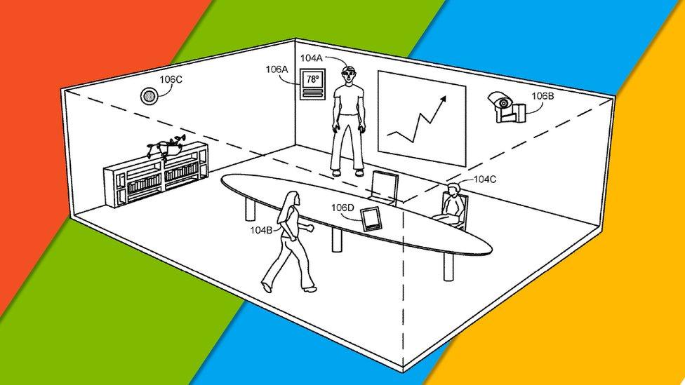Un boceto de una sala de reuniones con personas, cámaras y termostatos