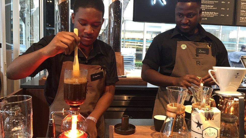 Starbucks baristas in Johannesburg, South Africa