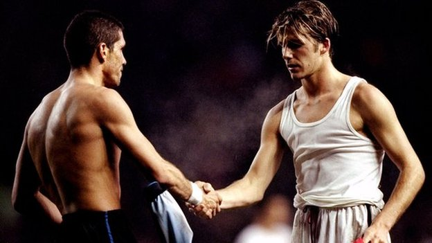 Diego Simeone y David Beckham