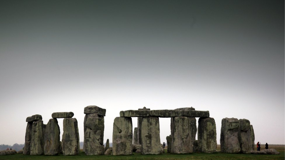 Stonehenge seen from a distance on a grey day