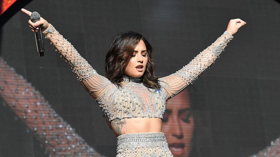 Demi Lovato en un concierto en Nueva York en 2016