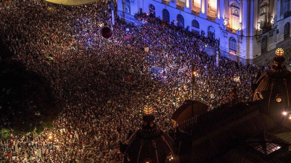Manifestación en apoyo a la investigación del caso de Marielle Franco.