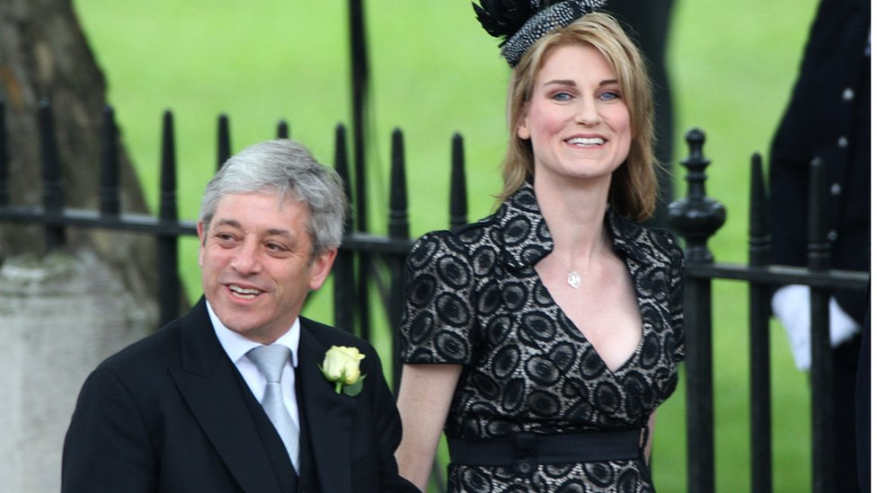 John Bercow, speaker of the House of Commons, and his wife, Sally, walking