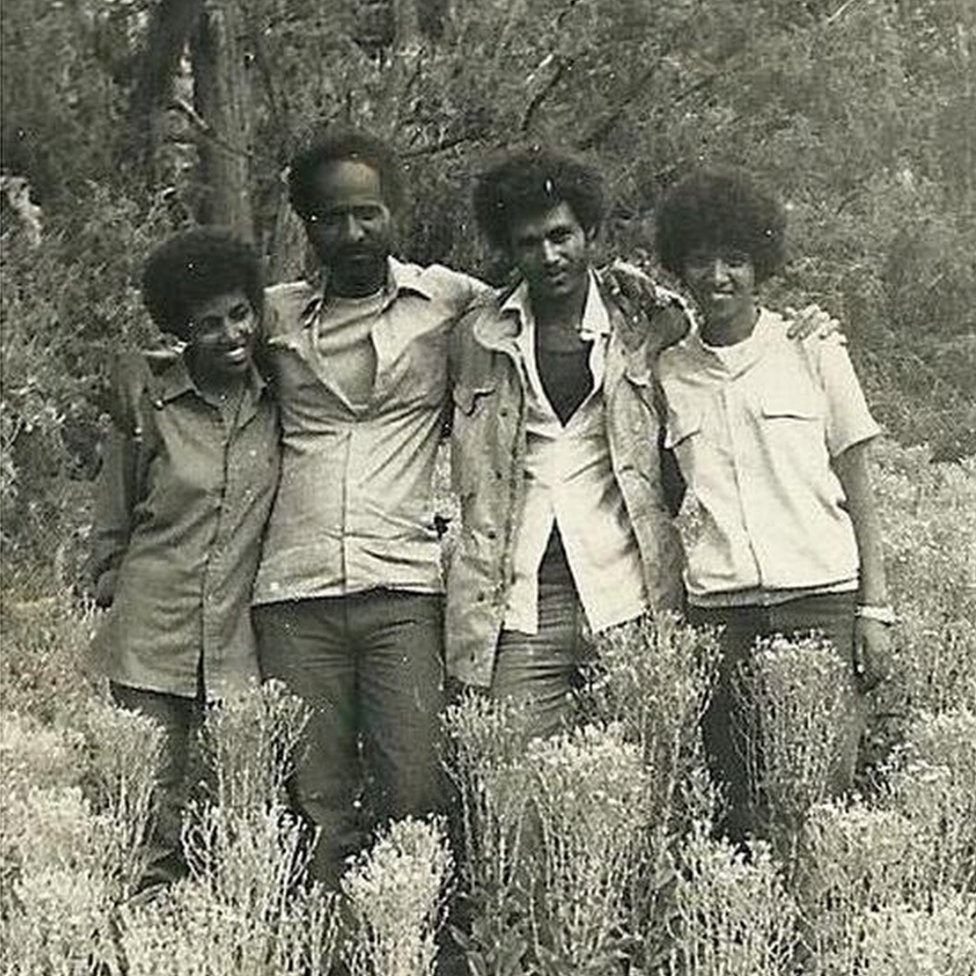 From left to right: EPLF fighters Aster Fissehatsion, Mahmoud Ahmed Sherifo and two other fighters