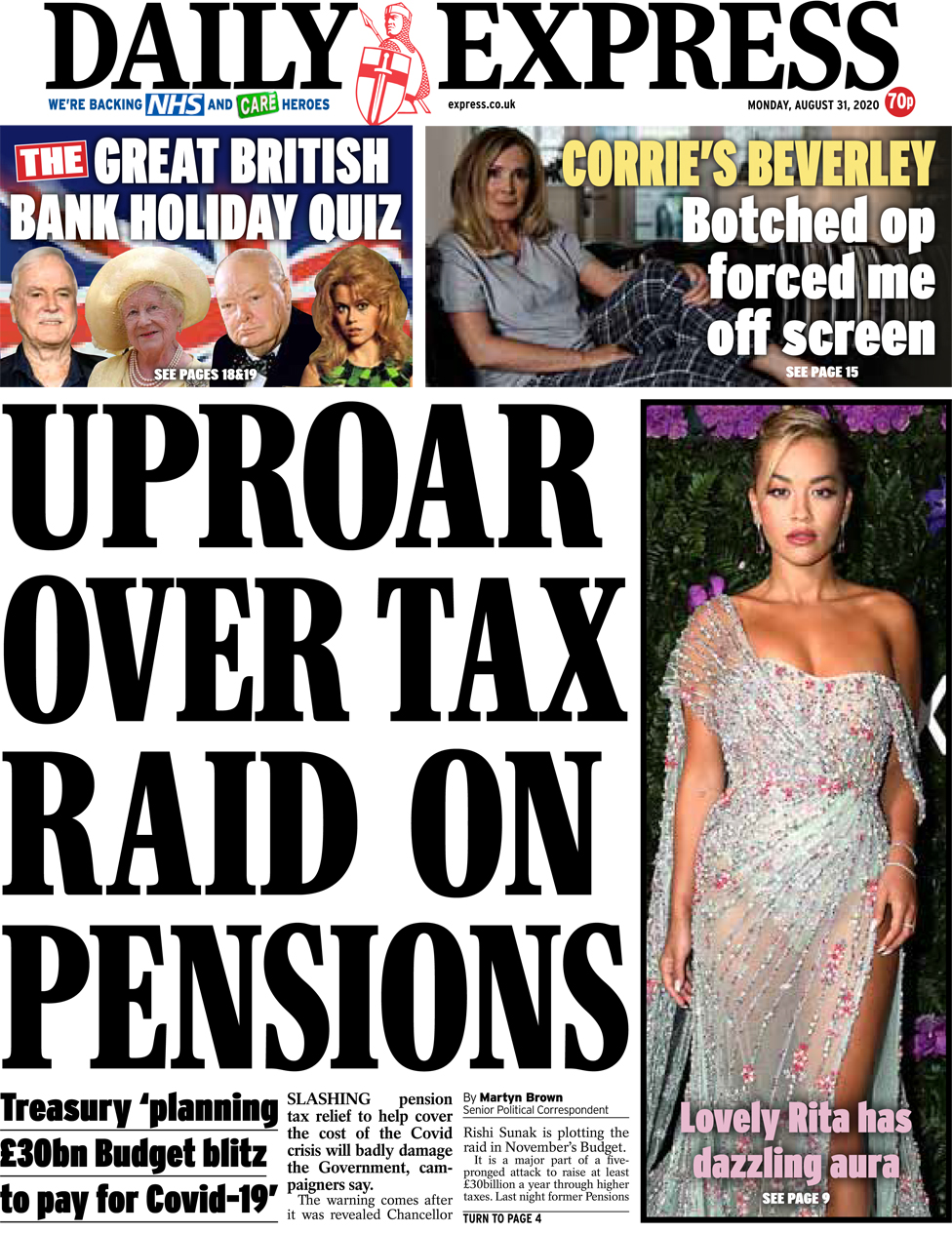 The Daily Express front page 31 August 2020