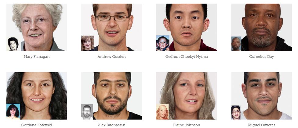 Imágenes de personas desaparecidas.