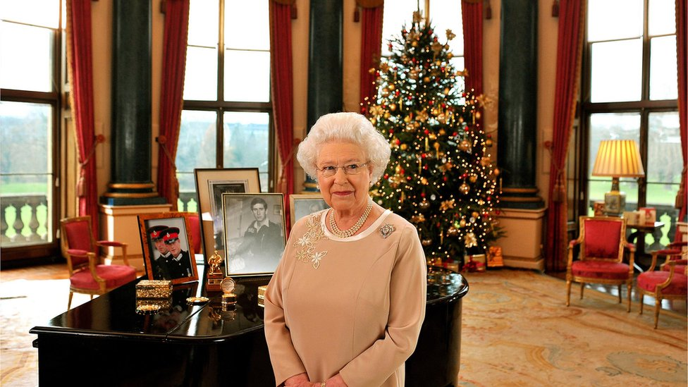 The Queen in the Music Room of Buckingham Palace, December 2008