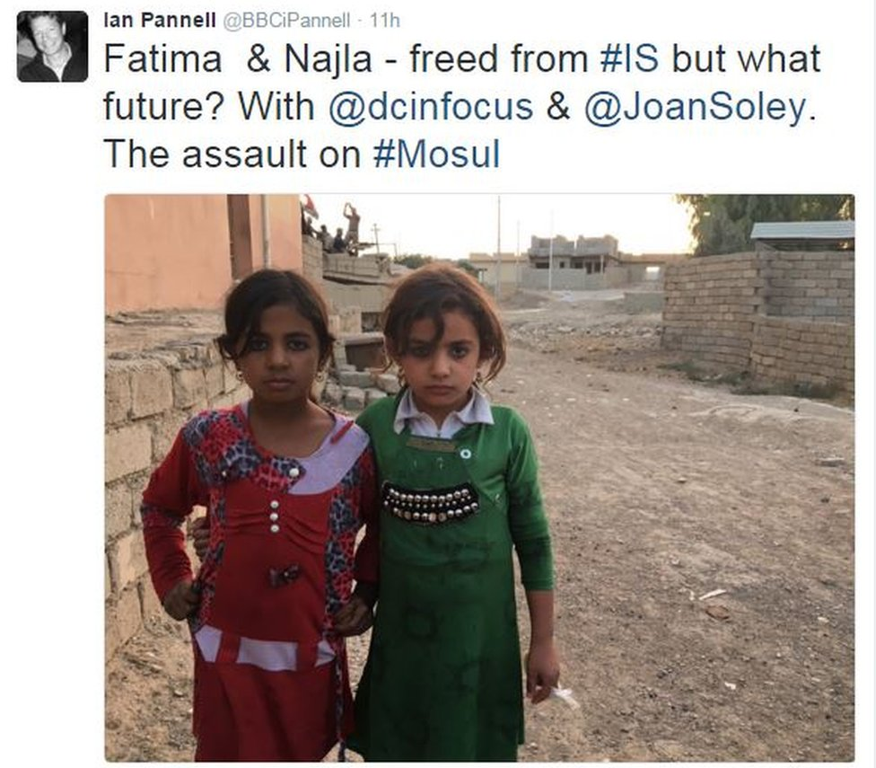 Tweet from Ian Pannell reads: Fatima and Najila - freed from Islamic State but what future, with a picture with the girls