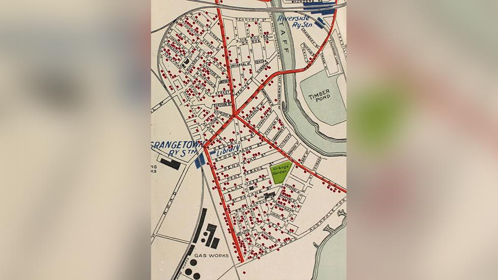 """The society's """"poppy map"""" shows where all 480 soldiers from Grangetown who died in World War One once lived"""