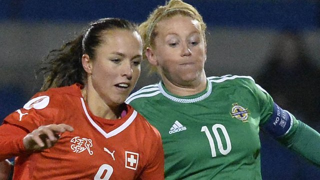 Northern Ireland's Rachel Furness in action against Switzerland