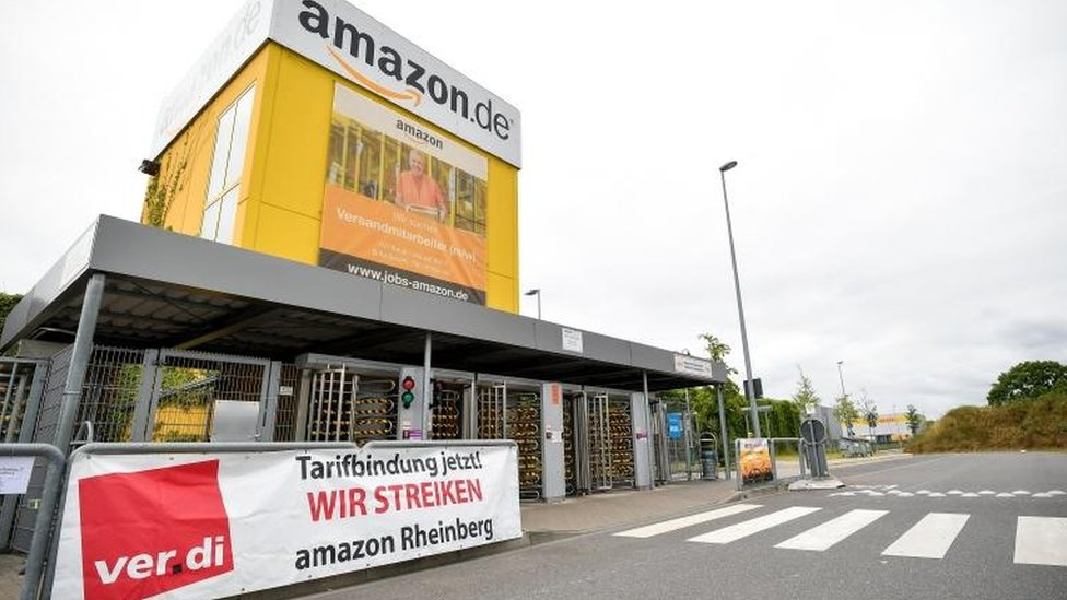 An Amazon logistics centre in Rheinberg, Germany