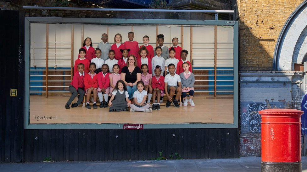 Billboard with a class photograph of a Year Three class