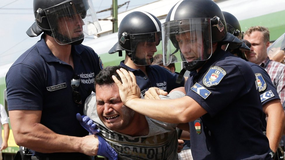 Migrant being detained at Bicske, Hungary, 3 September 2015