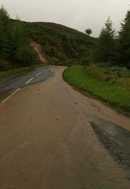 A landslide due to the heavy rain at the Gortin Glens in County Tyrone