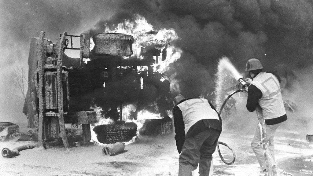 Photo of petrol tanker on fire in 1969