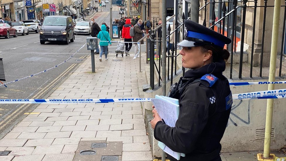 Police cordon on Park Street in the centre of Bristol