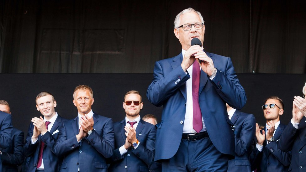 Iceland's coach Lars Lagerback delivers a speech for the return of the Iceland national football team in Reykjavik on July 4, 2016 after they lost against France during the the Euro 2016 quarter-final football match between France and Iceland the day before.
