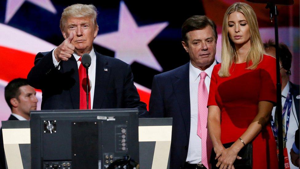Trump y su hija Ivanka, y Manafort en un congreso republicano en 2016.