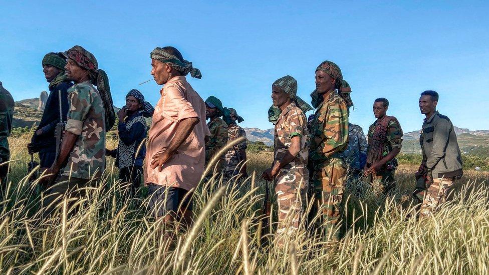 أفراد من مليشيات الأمهرة يقاتلون إلى جانب الحكومة المركزية.