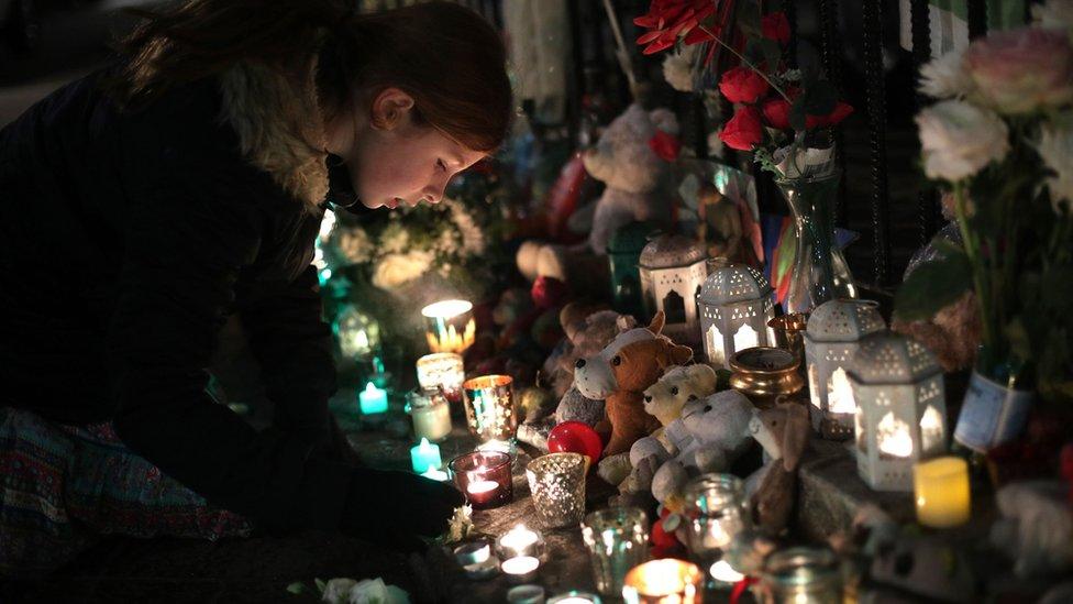 Girl lights candle