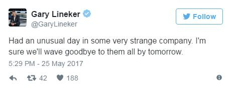Gary Lineker on Twitter: Had an unusual day in some very strange company. I'm sure we'll wave goodbye to them all by tomorrow.