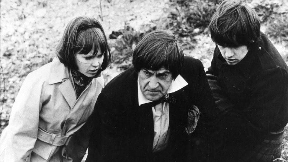 Wendy Padbury, Patrick Troughton and Frazer Hines in The War Games