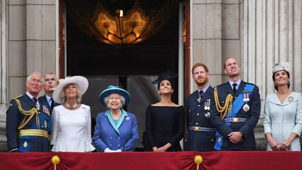 The Royal family, including the Prince of Wales, the Duke of York, the Duchess of Cornwall, Queen Elizabeth II, the Duchess of Sussex, the Duke of Sussex, the Duke of Cambridge and the Duchess of Cambridge