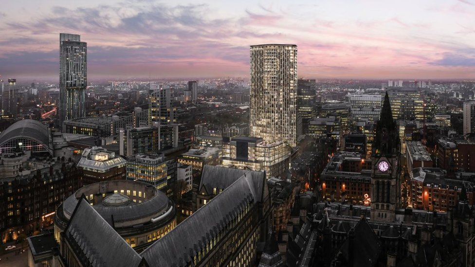 Artist's impression of skyline with tower