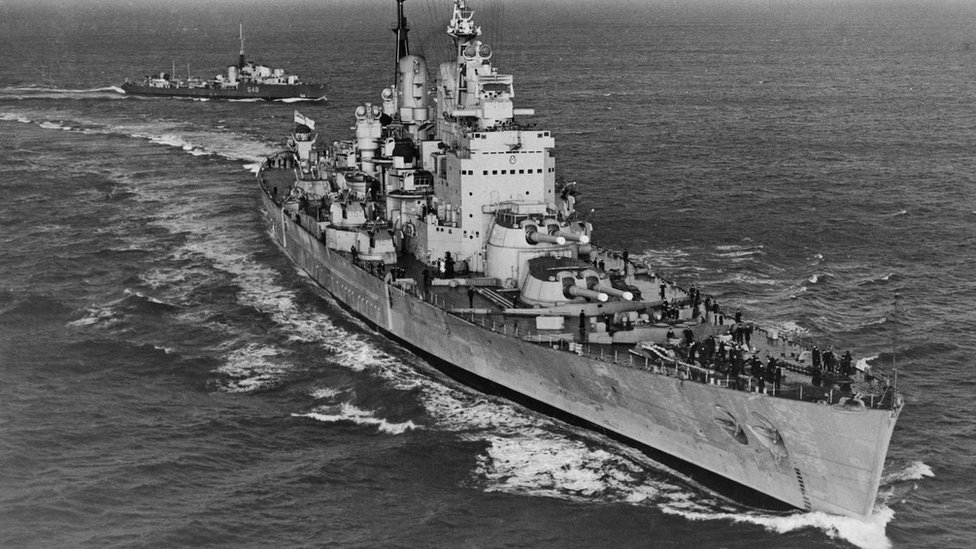 The Royal Navy 'fast battleship' HMS Vanguard undergoes her shakedown sea trials in the Central Atlantic Ocean