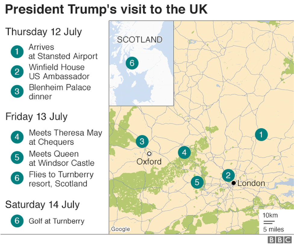 Map of locations President Trump will visit