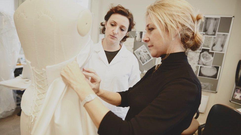Phillipa Lepley working on a dress