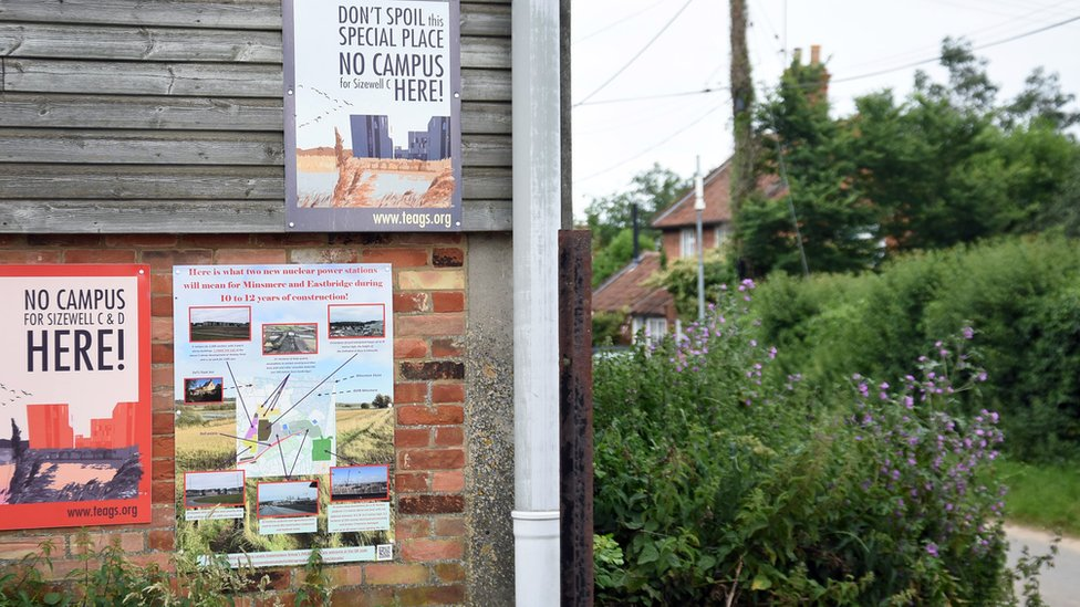 Posters protesting against Sizewell Campus