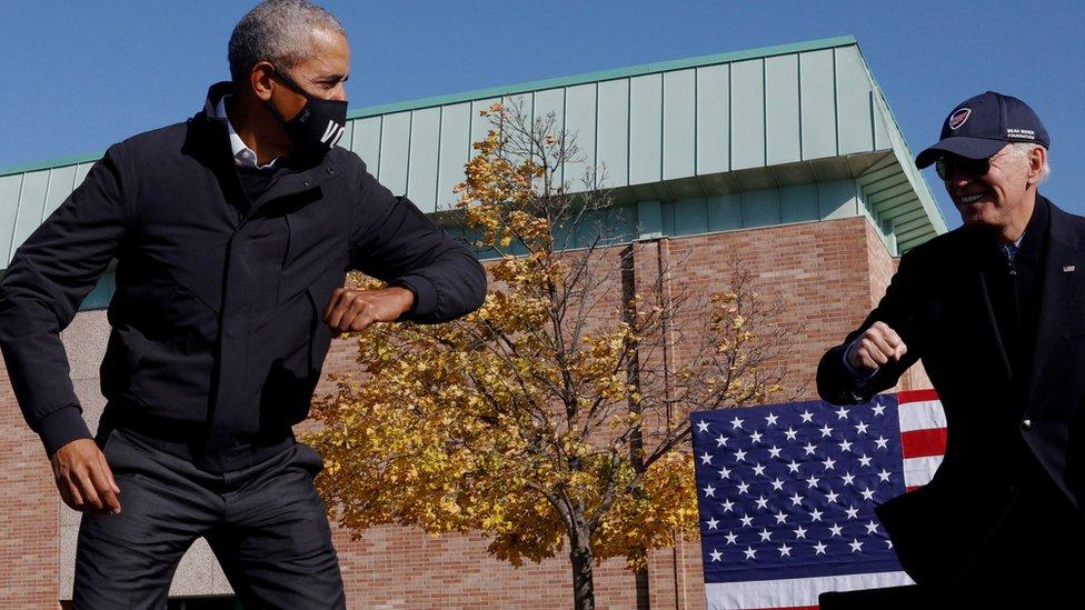 Barack Obama y Joe Biden en un evento de campaña 2020