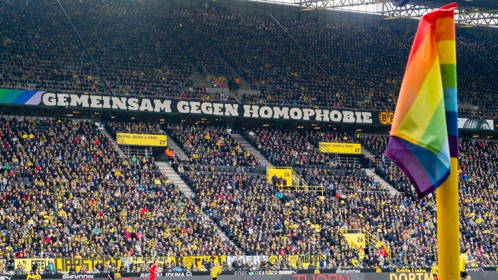 Anti-homophobia banner at German club Borussia Dortmund