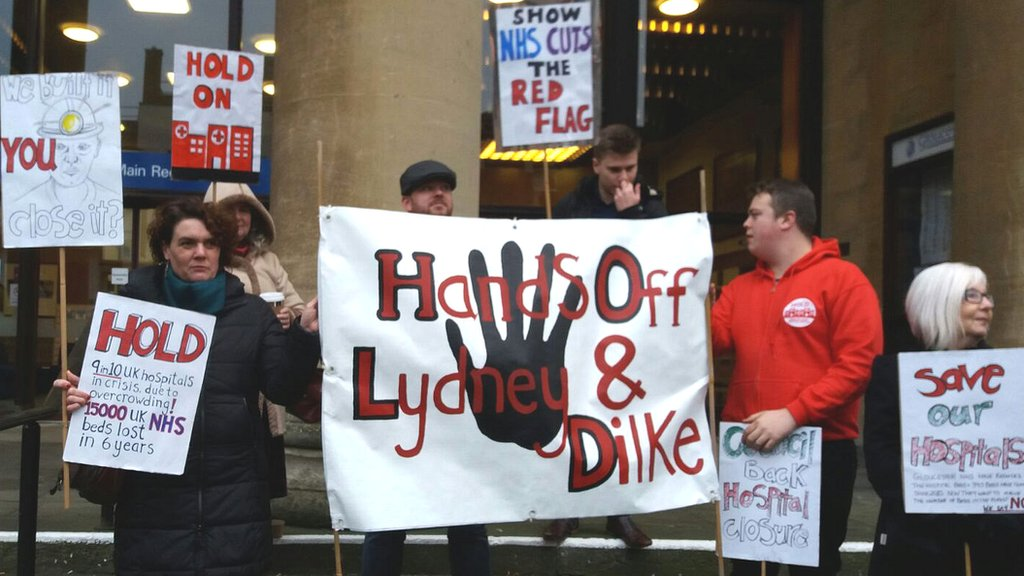 Protestors in Cinderford