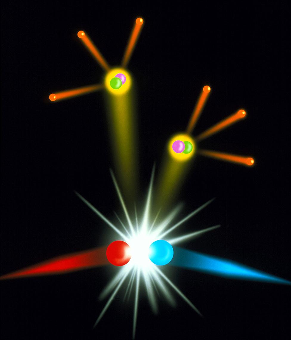 Choque de materia y antimateria que genera fotones