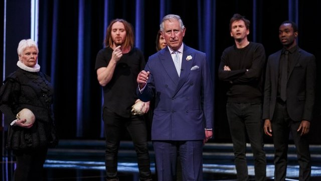 Prince Charles on stage with Dame Judi Dench