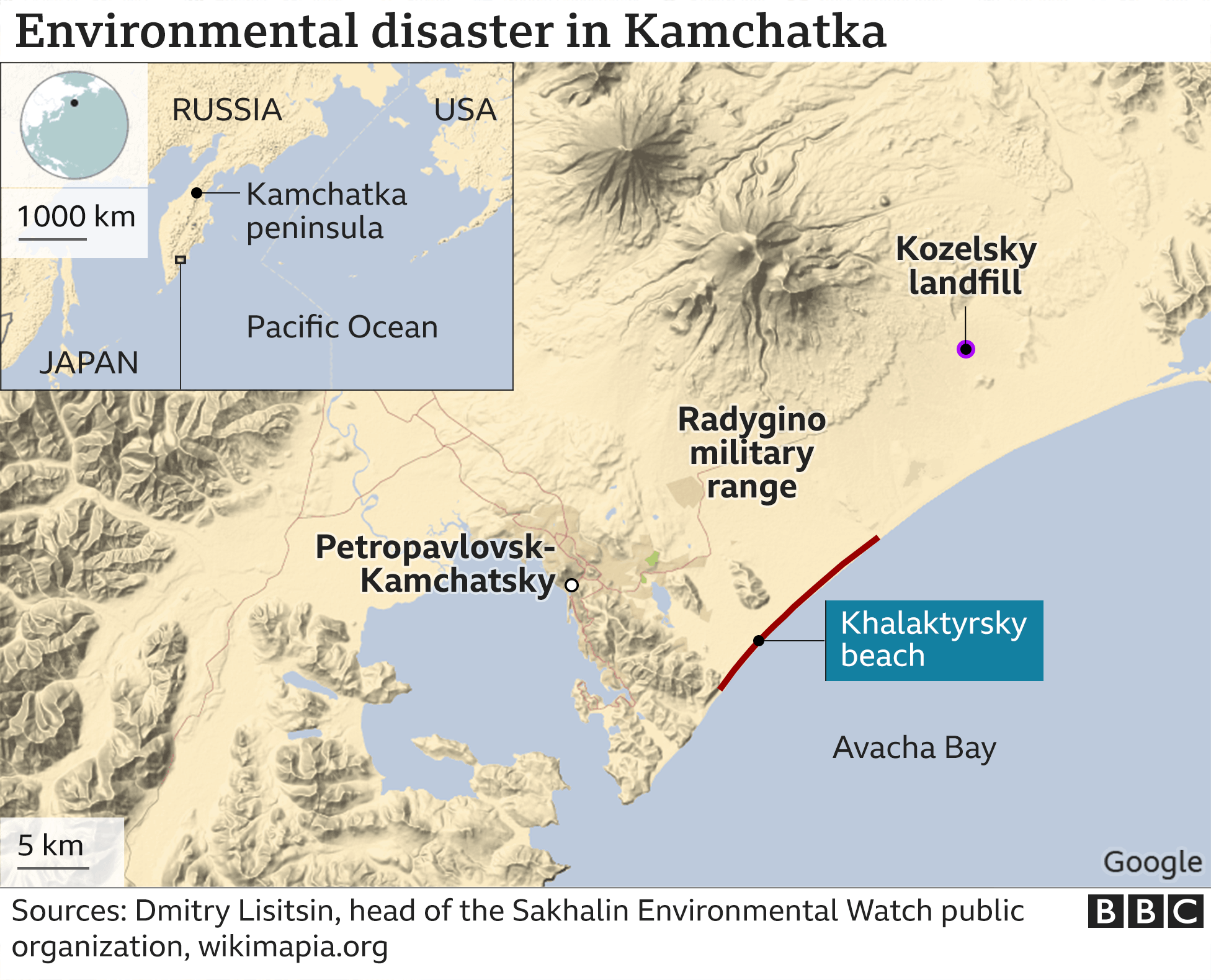 Map showing the location of Kamchatka beach in Russia, where there are reports of major pollution in the ocean.