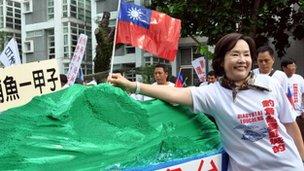 Protestors in Taipei say disputed islands belong to Taiwan.