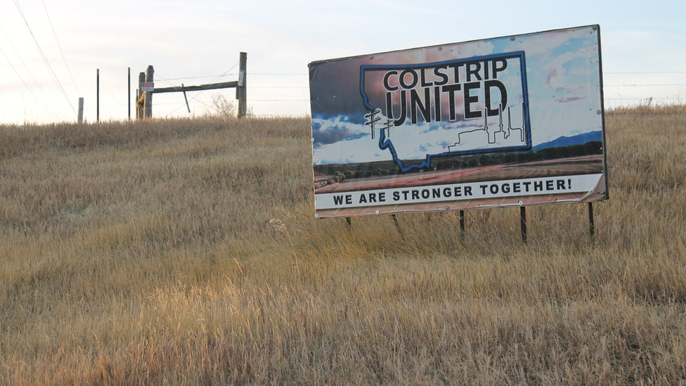 A Colstrip United billboard at the edge of town